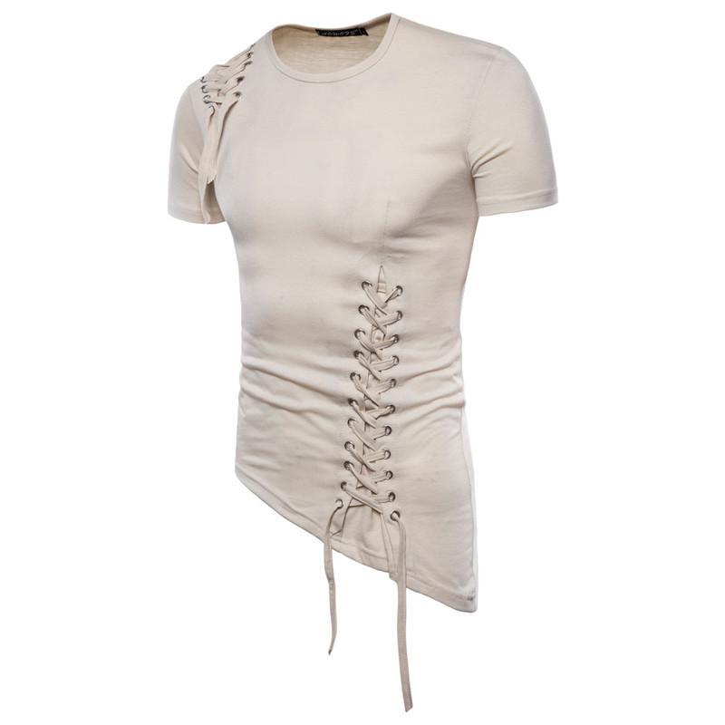 남성 T 셔츠 패션 비대칭 헴 졸라 매는 끈 T 셔츠 캐주얼 자연 색 반팔 T 셔츠 남성 의류