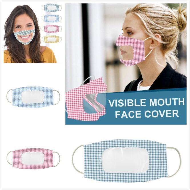 Trasparente Maschera per il viso Labbra Lingua camuffamento antipolvere fendinebbia maschere Sordi lettura Bocca riparo della finestra regolabile riutilizzabile lavabile