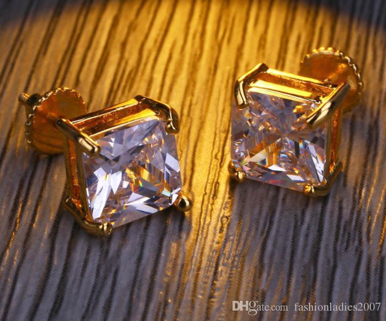Simulación de plata para hombre de Hip Hop Pendientes de joyería de la alta calidad de la manera HipHop vuelta de tornillo cuadrado Gold diamante pendiente para los hombres