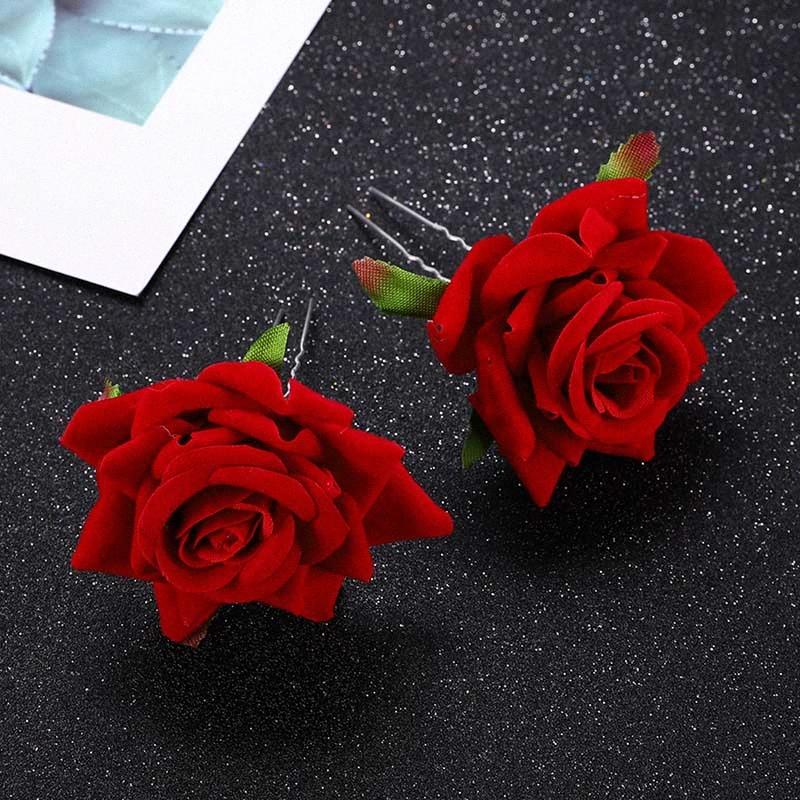 FORSEVEN Women Girl Bridal Bride Wedding Party Hair Jewelry Red White Rose Flower Hair Pins Sticks Clips Ornaments 7gVF#