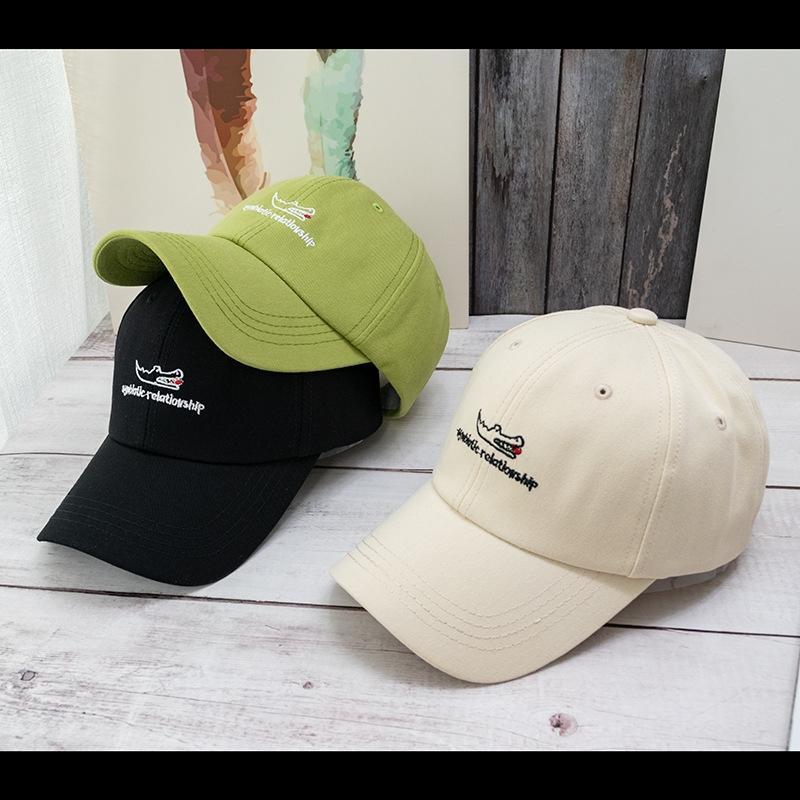 animal de la historieta alcanzó su punto máximo sombrero para el sol sombrero bordado personalizado letra de la manera en punta casquillo gorra de béisbol de béisbol capcasual ins de los hombres verdes HPptc