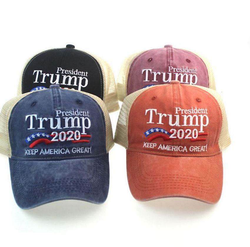 ترامب شبكة قبعة سائق الشاحنة القبعة الجمهوري البيسبول كاب قناع 2020 رئيس حملة الاحتفاظ جعل حزب قبعات أمريكا العظمى شبكة مطرز KKA7969