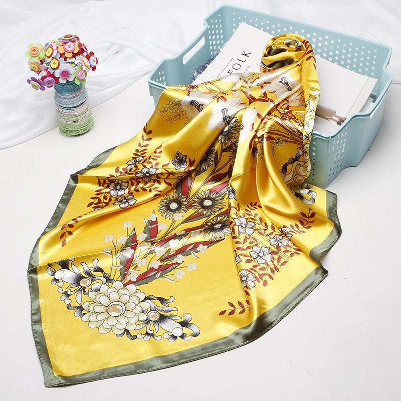 Women Fashion Square Scarf Aztec Style Flower Floral Print Yellow Shawl Hijab Wraps for Stylish Ladies Girls Accessories 90*90cm