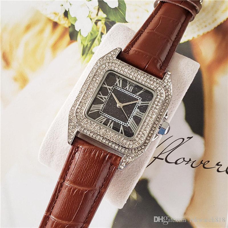 Las mujeres al por mayor de la manera del reloj del diamante hacia fuera helado Relojes Movimiento clásico del diseño del acero inoxidable del cuarzo correa de cuero Señora Reloj Reloj