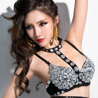 bra Various nightclub sexy sequins color diamond rivets rhinestone WTIFz shorts pole Crystal bar DS Underwear dance Bar Crystal table p Oraij
