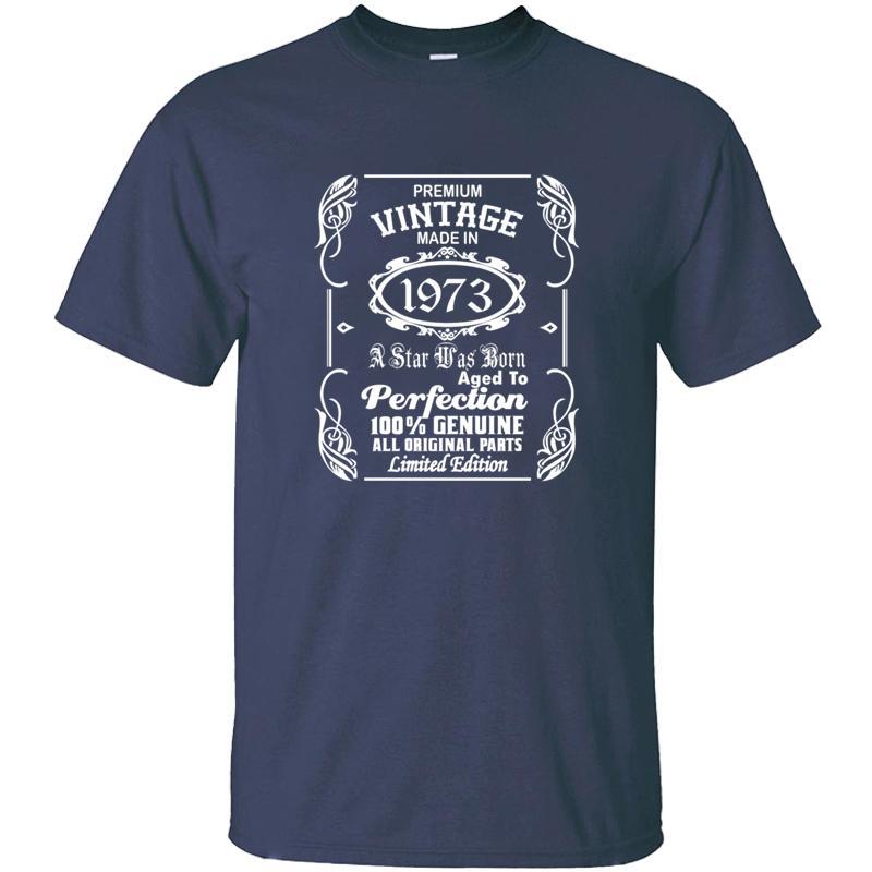 Трикотажное письмо Vintage Made In 1973 Tshirt Man Summer Прохладный отдыха Одежда футболки большой размер 3XL 4XL 5XL Hip Hop