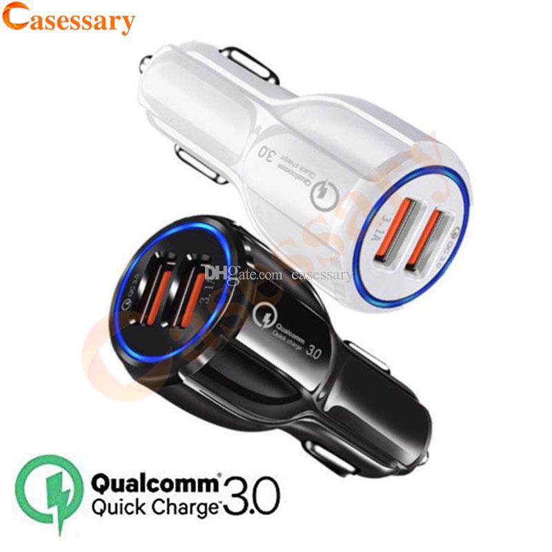QC3.0 CE FCC ROHS Certified Qualcomm Quick Charge Dual 2 USB Port Fast carregador de carro para iPhone iPad Samsung LG Motorola Huawei
