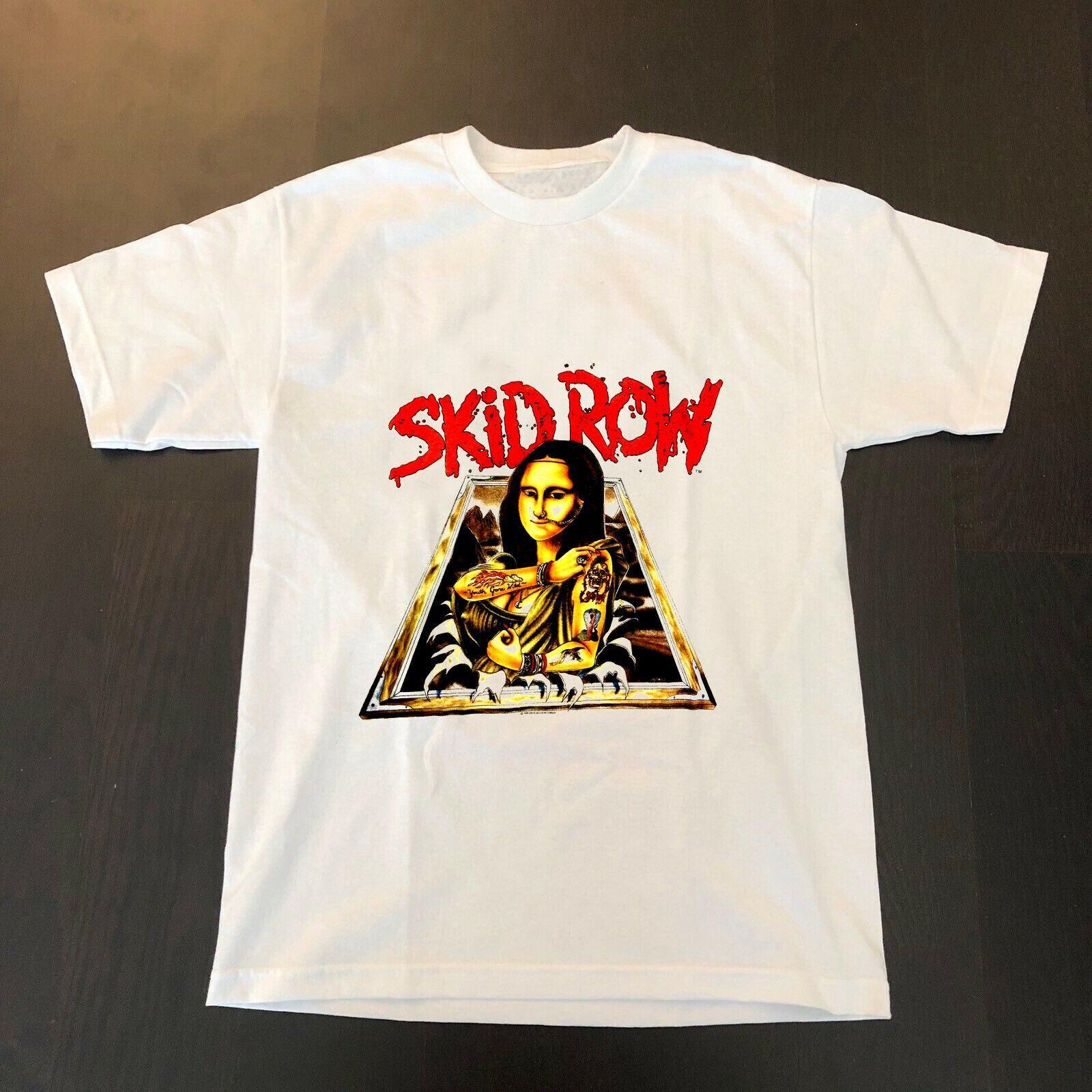Skid Row Mona Lisa de la vendimia 1989 de la camiseta RARO! ¡La juventud ha ido salvaje! Top raras baratos 100% algodón camisetas para los muchachos Top del tamaño extra grande