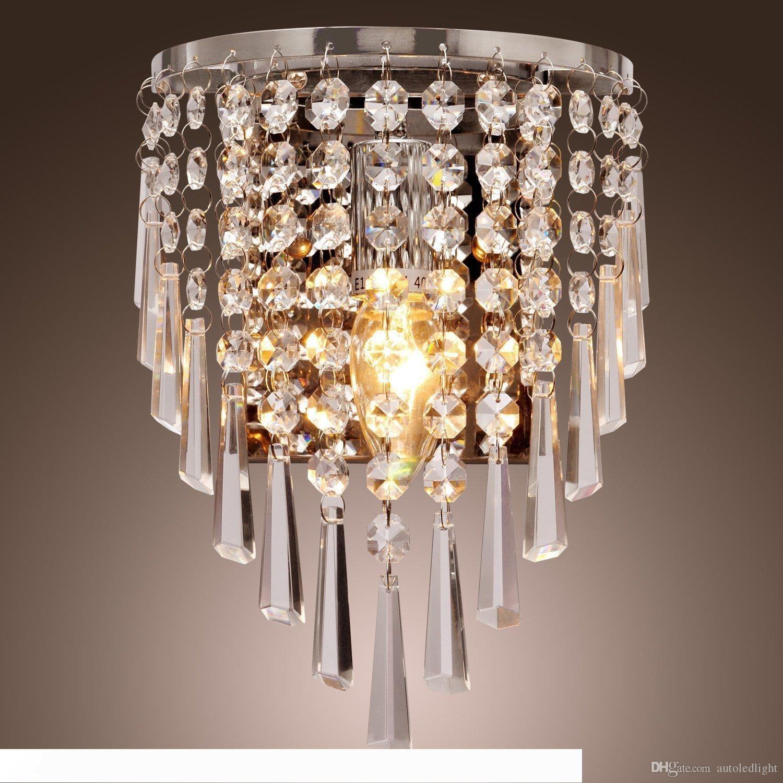 100% beau cristal Applique en cristal moderne Applique murale en acier inoxydable K9 cristal Applique Chambre chevet éclairage