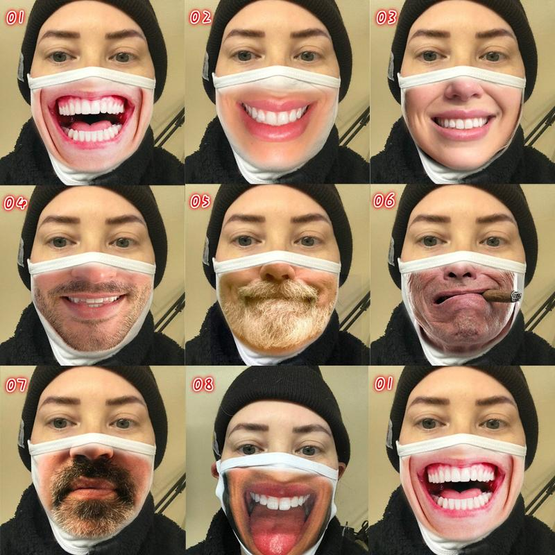 pamuk yüz maskesi kişilik yüz ifadesi komik toz pamuk baskı toz geçirmez 2020 yeni moda yetişkin Yeniden kullanılabilir pamuk yüz maskesi maskesi