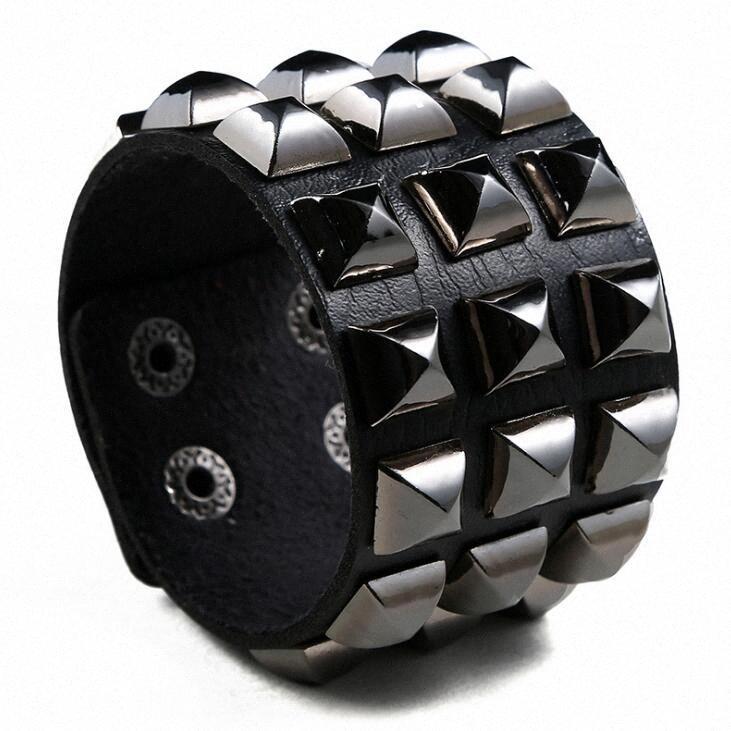 Punk Rock Men Gothic Wide Bracelet Fashion Cuff Leather Black Rivets Stud Charm Biker Wristband Wrap Bangle Unisex Women Jewelry 6cTL#