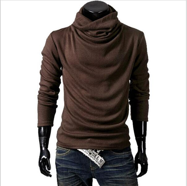 High Quality Autumn Winter Mens Fashion Slim Fit Pullover Knit Sweaters Male Casual Long Sleeve Pile Collar Sweater