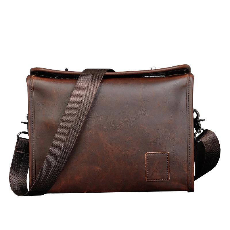 حقيبة الكتف الرجعية حقيبة يد جلدية للرجل سعة كبيرة الذكور crossbody حقائب الأعمال سستة رجل رسول حقيبة بني