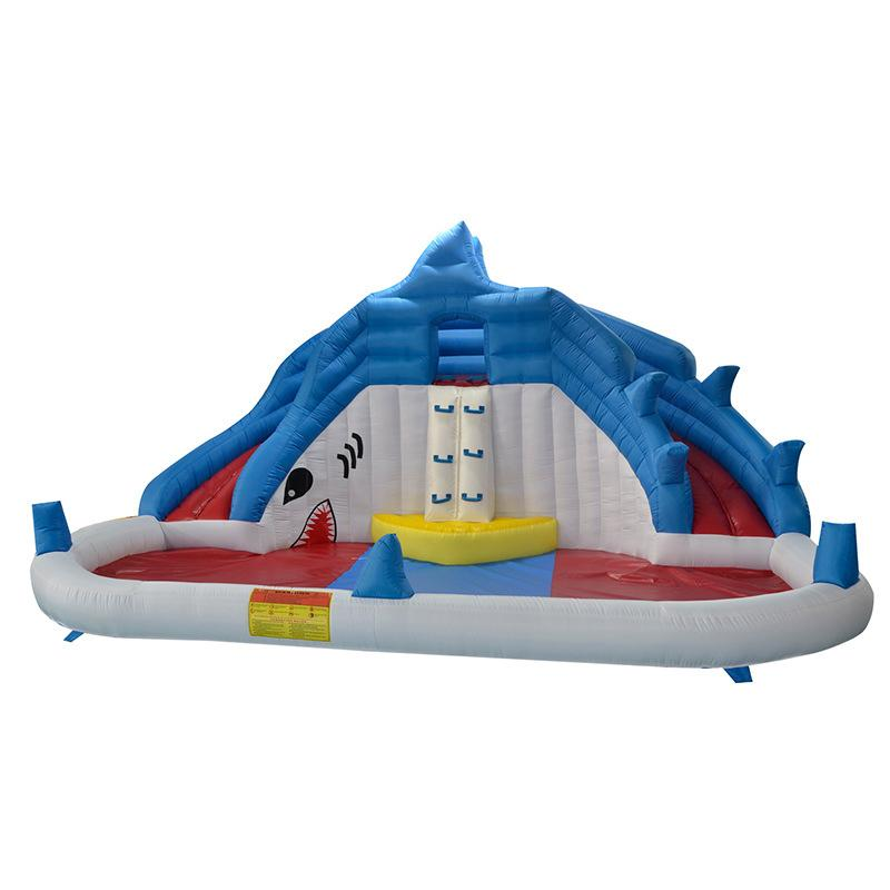 Backyad Shark Inflatable Water Slide Pool Inflatable Pool with Slide Splash Bounce House Shark Water Park Swimming Pool with Air Blower