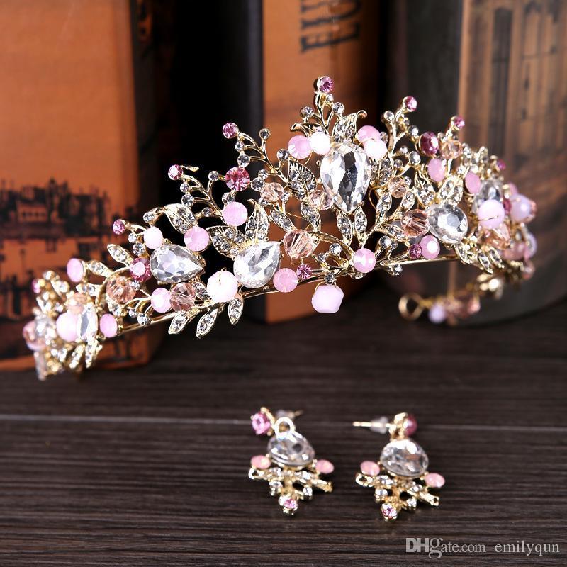Küpe Saç Takı Aksesuar ile Gelin Taçlar hairbands Çiçek Gelin Kristal Tiara Prenses Taç Düğün Tiaras doğum günü partisi Çelenkler