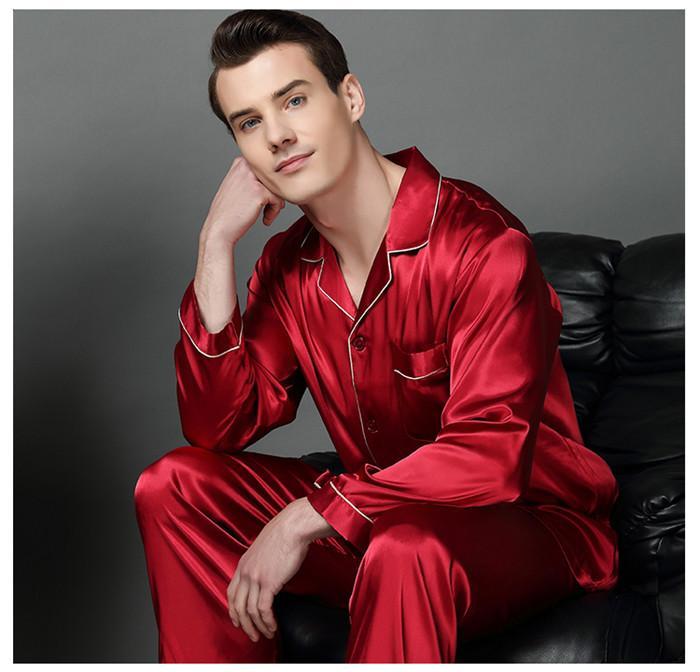 Mola de luxo mens seda pijama conjunto pijamas homens sleepwear estilo moderno camisola de seda caseira macho cetim macio acolhedor para dormir