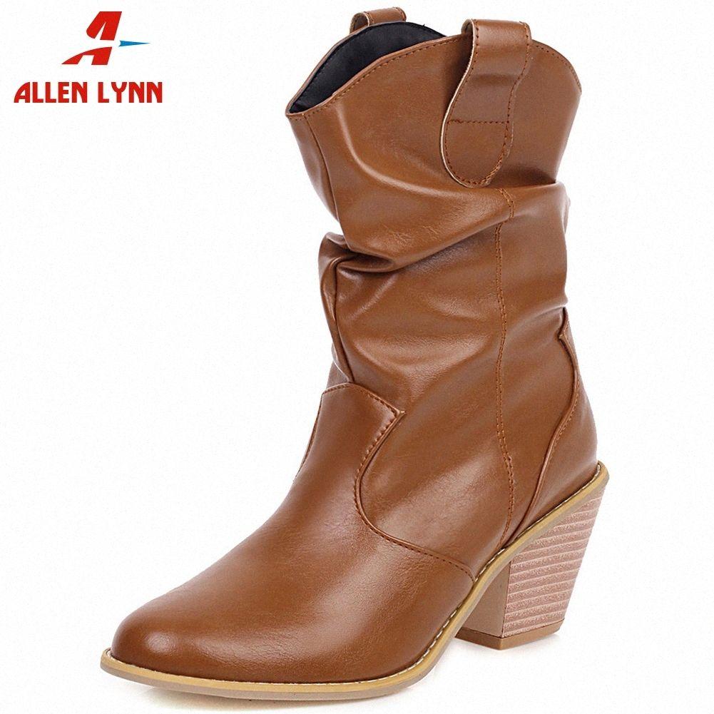 ALLENLYNN Yeni Büyük Beden Orta Buzağı Boots Kadınlar Siyah Combat Boo euhn # Açık 34 43 Bayanlar Yüksek Topuklar Ayakkabı Kadın Fashipn Pileli Batı Boots Kayma