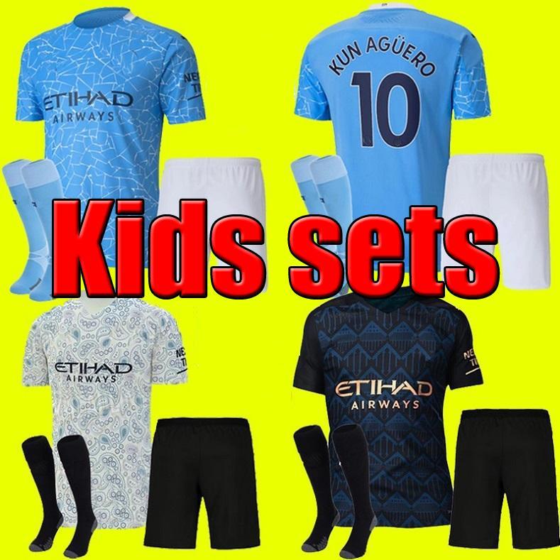 2019 2020 KUN AGUERO MANCHESTER CITY KITS PARA NIÑOS JUEGOS CALCETINES UNIFORME STERLING camiseta de fútbol JÓVENES JESÚS 2019/20 DE BRUYNE BOYS Camisetas de fútbol