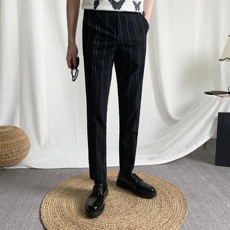 Erkekler takım elbise pantolon 2020 bahar yeni ince şerit baskı küçük bacak pantolon gündelik geçici moda kişilik gençlik erkek giyim nHYf #