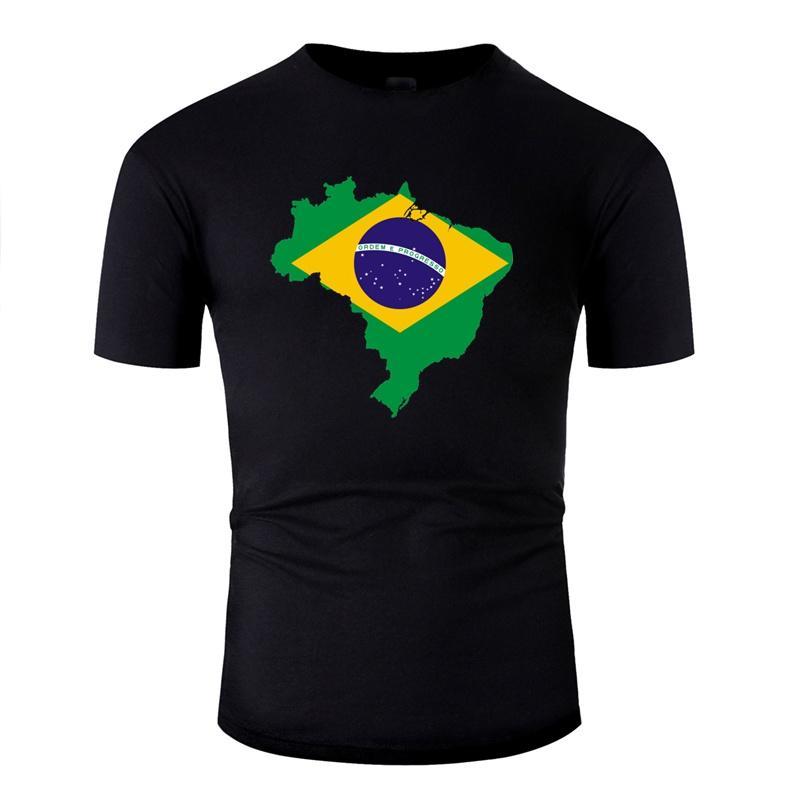 Mapa da bandeira Brasil País Brasil Casual camiseta Cartas de algodão Comics camisetas gola cor sólida manga curta