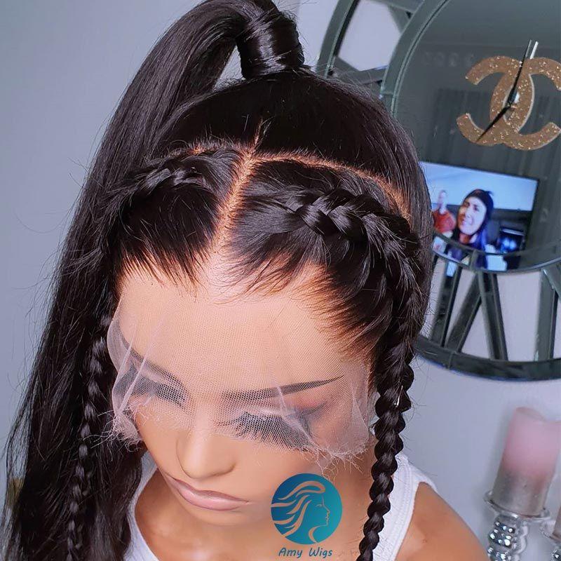 Pre arrancó blanqueados Nudos Alta Definición transparente de encaje completo pelucas de pelo humano con el pelo del bebé 130 Densidad de Brasil Remy Negro Mujer de encaje frontal de la peluca