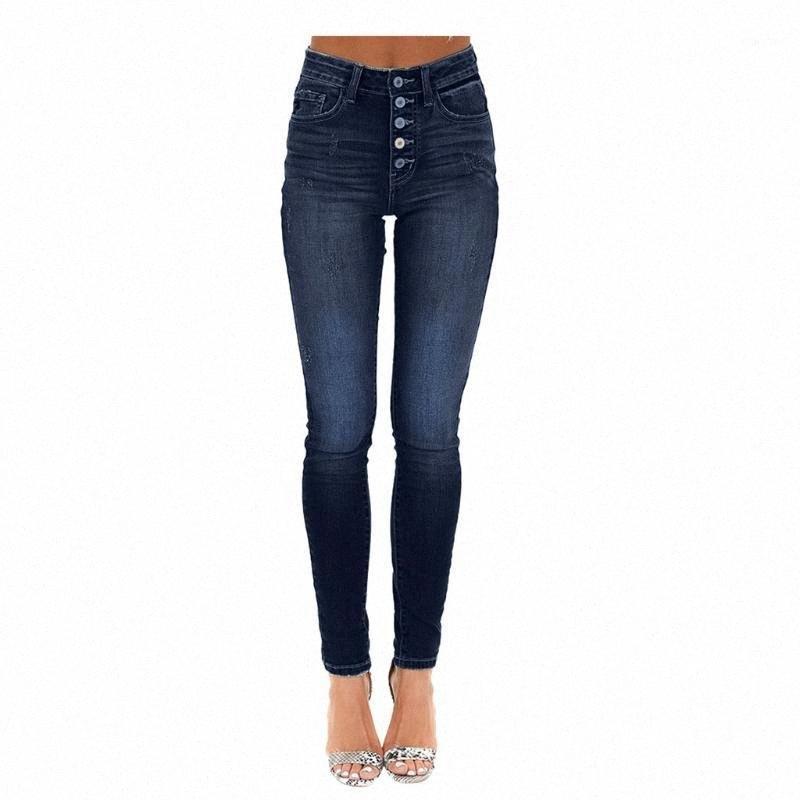 JAYCOSIN İlkbahar Sonbahar İnce Jeans Kadınlar Skinny Düğmeler Yüksek Elastik Bel Kırpılmış Kalem Pantolon Femme Denim Mavi Pantolon 11181 Wh0R #