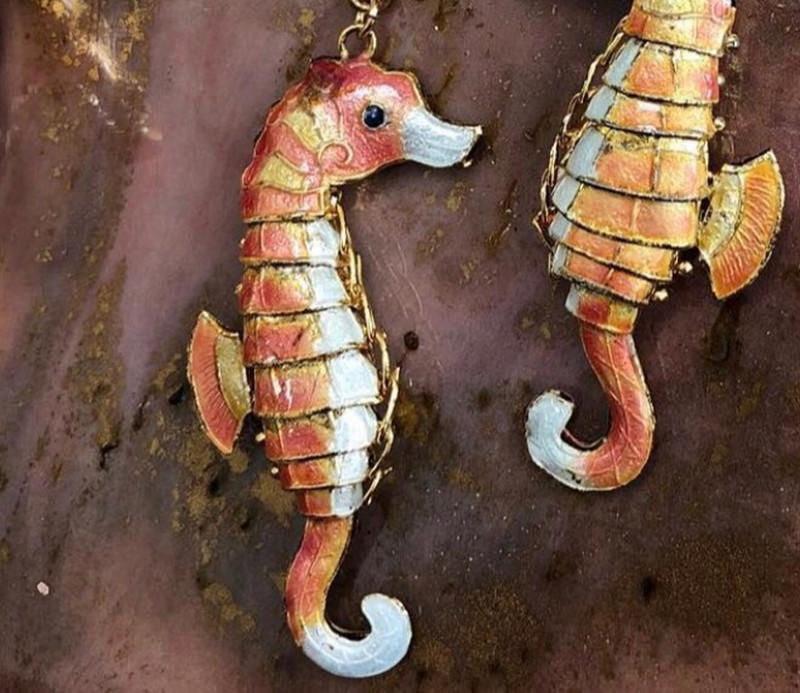 5 stücke 4,5 cm lebensechte schwan sich etamel seahorse charms nette schmuck machen anhänger cloisonne tier diy ohrringe armband halskette