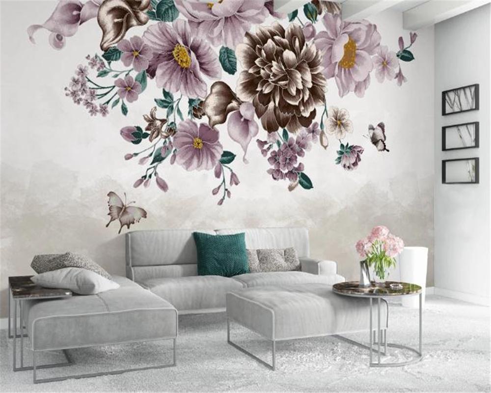사진 배경 화면 현대 유럽 손으로 그린 작은 신선한 로즈 나비 TV 배경 벽 RomanticDecorative 실크 벽화 벽지