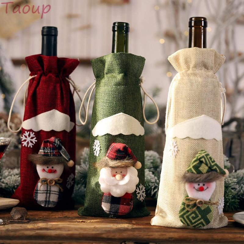 Taoup Flax Santa Claus Dolls Christmas Wine Bottle Cover Merry Christmas Table Decor Xmas Wine Holder Bag Noel Xmas Gift Present