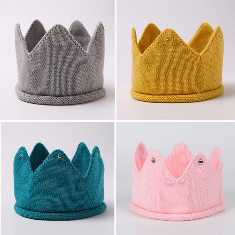 Crown Baby Hat Photography Props Autumn Winter Knit Newborn Baby Girl Boy Hat Turban Infant Toddler Beanie