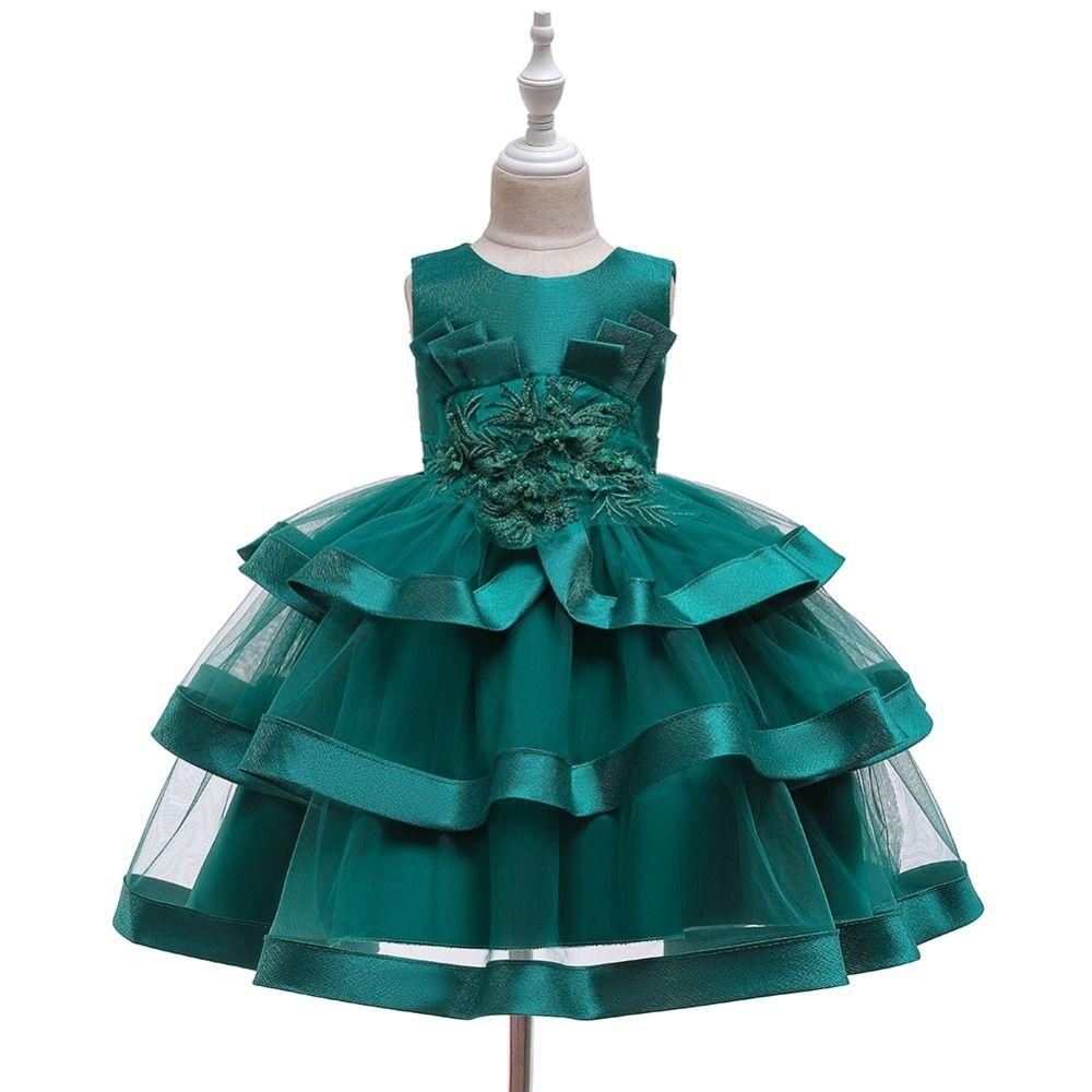 Hetiso 공주 꽃 소녀 웨딩 드레스 어린이의 레이스 진주 활 투투 드레스 아기 생일 파티 민소매 레드 녹색 드레스 T200709