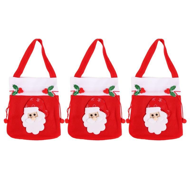3pcs portátil bolso del caramelo lindo diseño de Santa regalo de Navidad bolsa de galleta de la Navidad de Apple con asas de almacenamiento