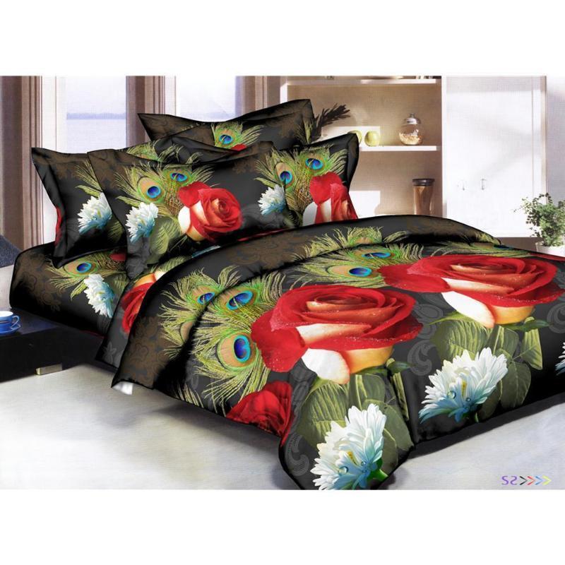 38 4pcs / set impresión 3D Rose Flor almohada cubierta del edredón del lecho de la hoja de cama