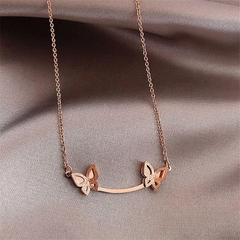 Korean Butterfly Pendants Necklaces Rose Gold Color Titanium Stainless Steel Choker Necklace Women Fashion Jewelry l0PT#