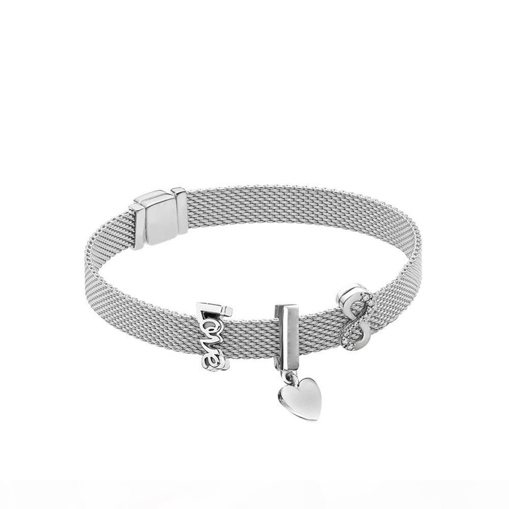Nouveau 925 amour illimité Montre bracelet chaîne de bricolage perles mis Fit breloques originales Femmes Bangles Bijoux Souvenirs