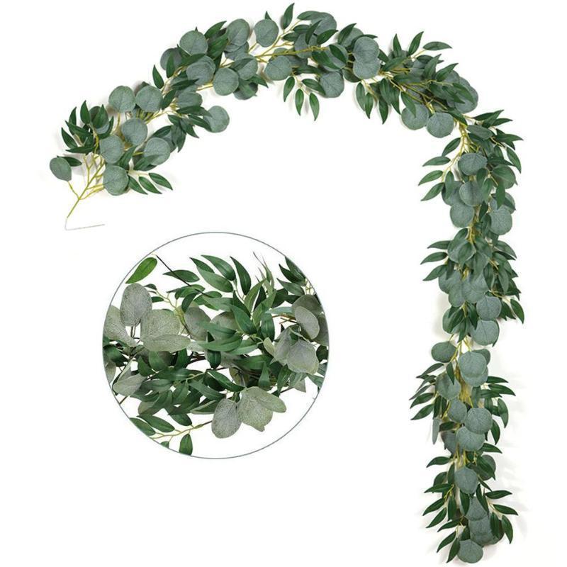Artificial Hanging Eucalyptus Vine Leaves Artificial Hanging Twigs Leaves Garland String for Wedding Party Photo Prop