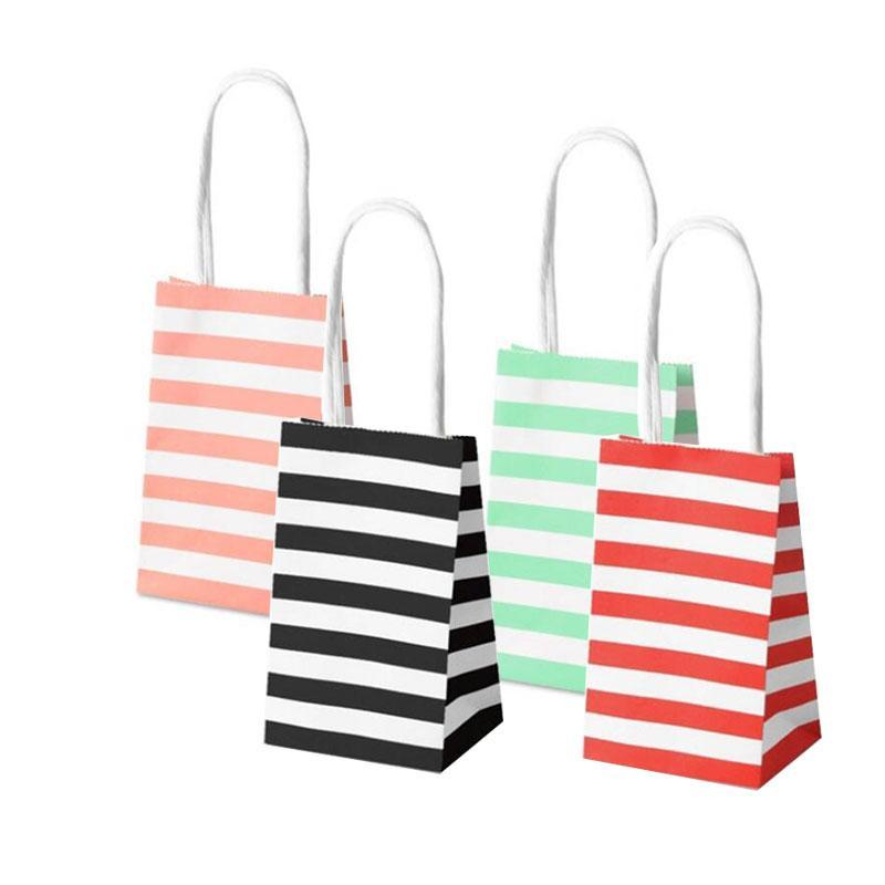 Small gift paper bag with handles bow Ribbon stripe handbag Cookies candy Festival gift packaging bags Jewelry birthday