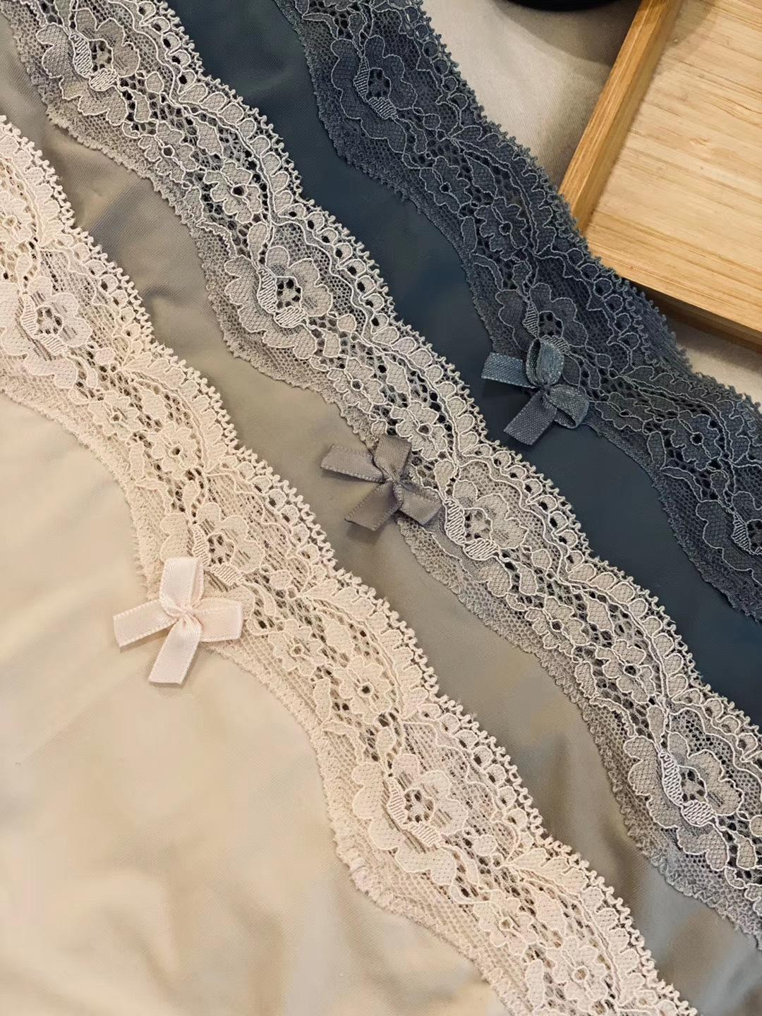 an6ZI Spanish O family 3-piece women's underwear elastic wrapping force is very strong Underwear lace lace seamless mid-waist cotton low cro
