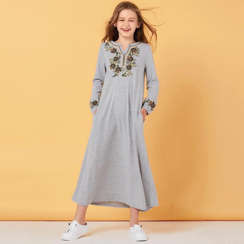 Ethnische Kleidung Kinder Schweiß Muslim Kleid Mädchen Trainingsanzug Floral Marokkanische Kleider Kinder Kimono Islamic Dubai A-Line Vestido Kaftan