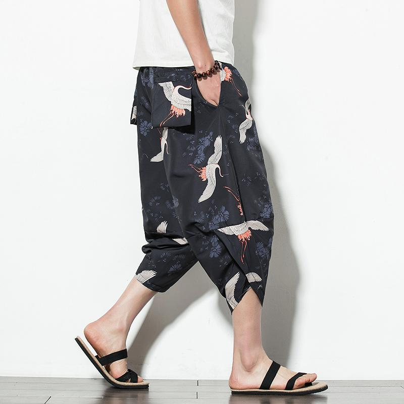 Gamba Cotone Lino coulisse pantaloni da uomo elastico in vita Pantaloni Mens 2020 Estate allentato Fitness Pantaloni Casual Maschio Streetwear