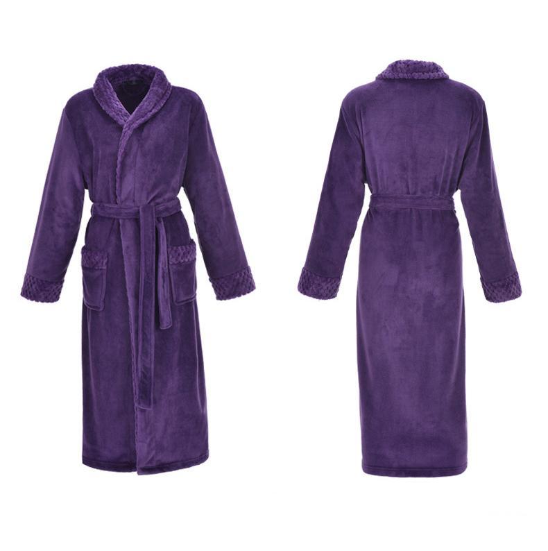 Mor Kalın Sıcak Kadınlar Coral Polar Kimono Robe Aşıklar Çift Gecelik Kadın Banyosu Önlük pijamalar Erkekler Büyük Gecelik M-XXL
