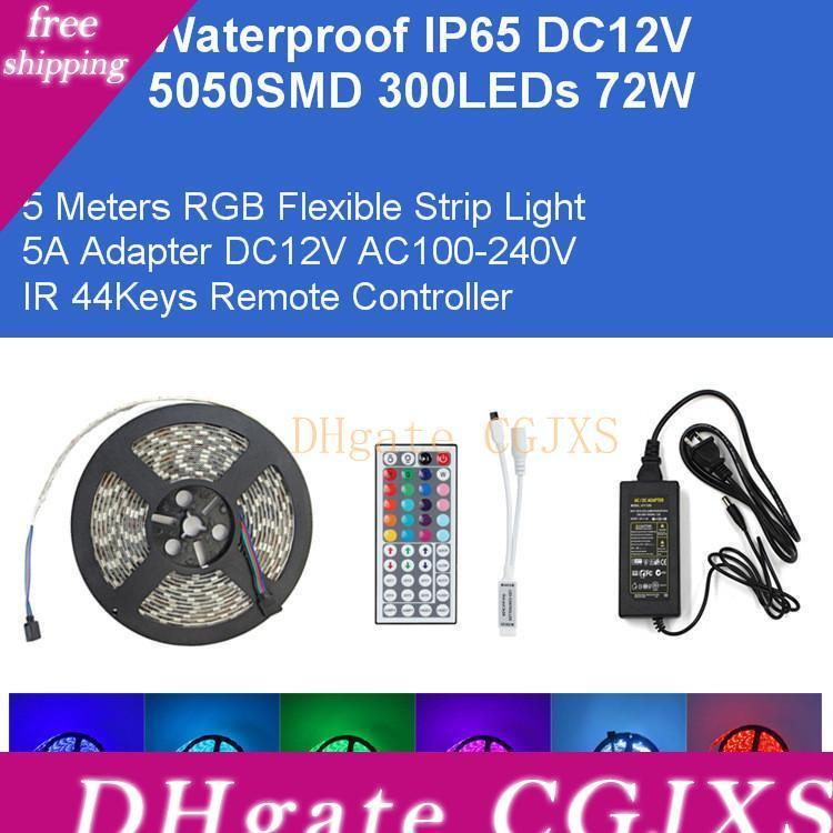 Dc12v 5m Rgb Flexible Strip 5050smd 300led 72w Kit Led Light 5a Adapter Ir Remote Controller Ip65 Waterproof Lamp Direct From Shenzhen China