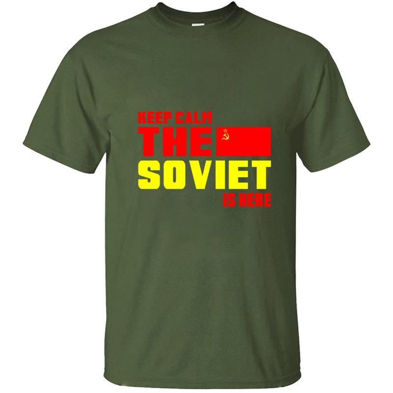 Imprimé Union soviétique gardez le calme cadeau Urss T-shirt pour les hommes T-shirt des hommes T-shirt des hommes solides Tops Fitness Couleur Casuals