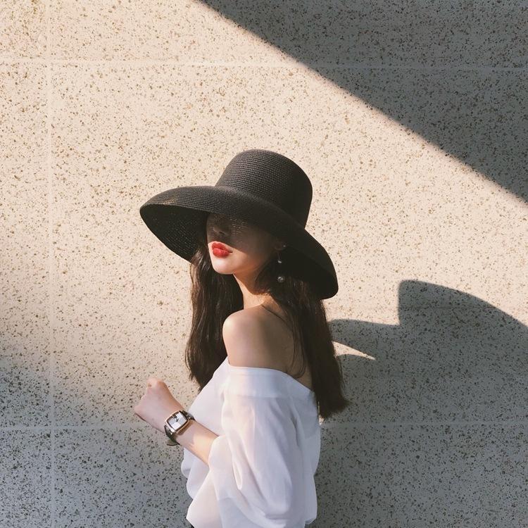 Audrey Hepburn chapeau de paille en forme de cloche outil de modélisation engloutie grand cru chapeau ras bord ambiance haute bilité faire semblant touristique plage T200715