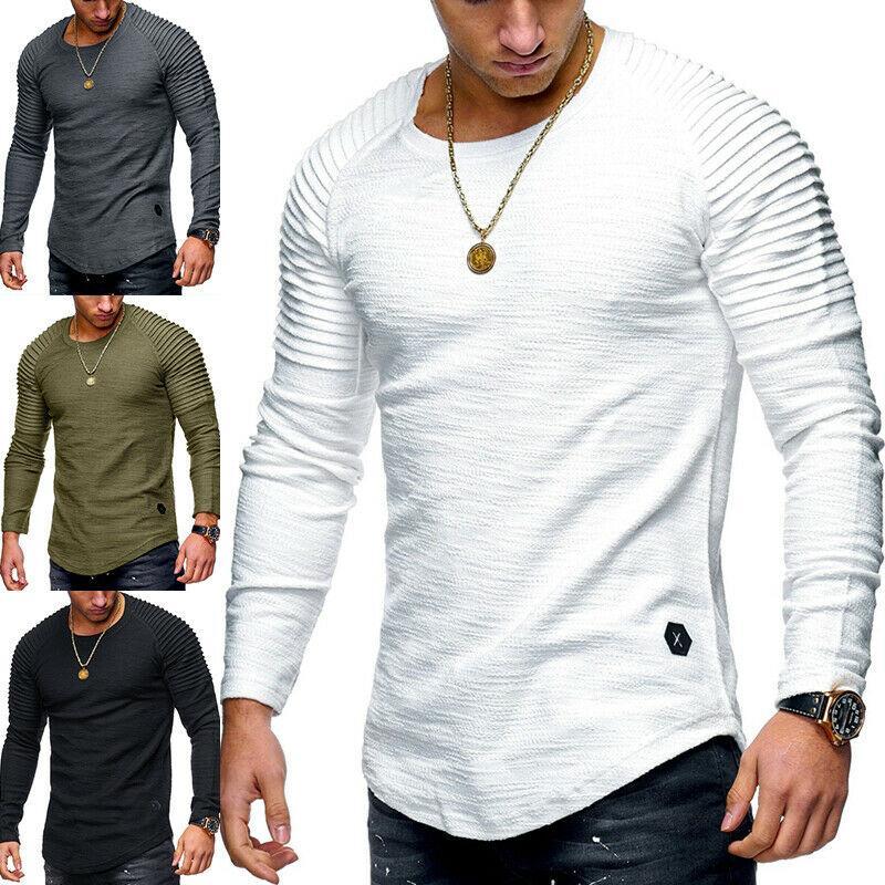 5 색 M-3XL 남성 슬림핏 O 목 긴 소매 패션 근육 티 T 셔츠 캐주얼 블라우스 56297821799272 탑