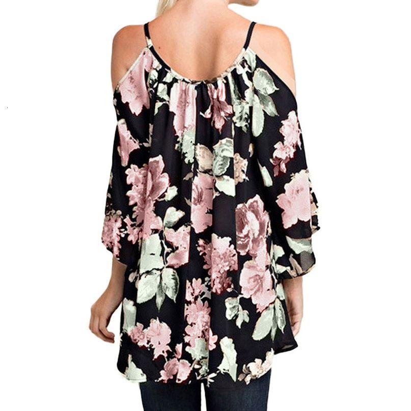 Omuz Yaz 2020 Kadın Bluz Gömlek Plus Size Tops Off 3XL 5XL Boho Çiçek Bluzlar Kadın tunik Büyük Boyutları Gömlek yazdır