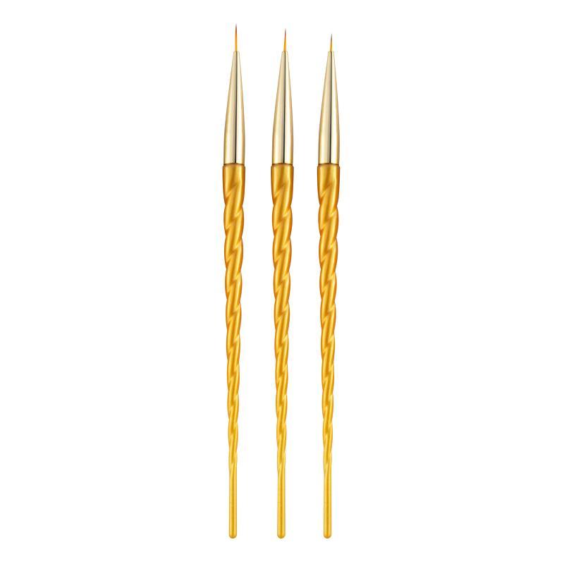 Fabrika Nail Art Liner Boyama Çizim Çiçek Kalem Fırça 3D DIY İpuçları Çizgili Izgaralar Lines Tasarım UV Jel Araçları için 7/9/11mm Set İpuçları
