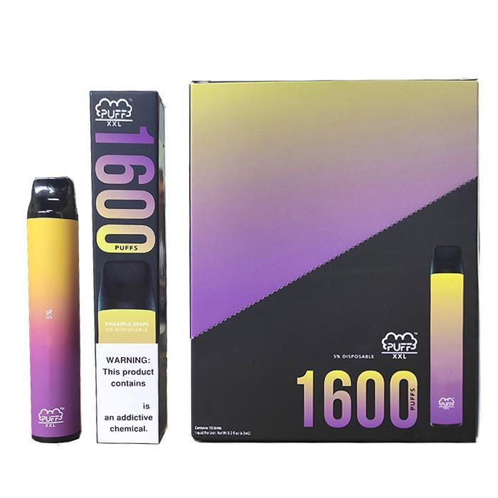 Puff XXL Einweg Vape 1600+ bläht Einweg-Pre-Filled 50mg Stength Vape Stift Puff Bar XXL Knall mit Authentic Valid Scratch-Code fließen xl