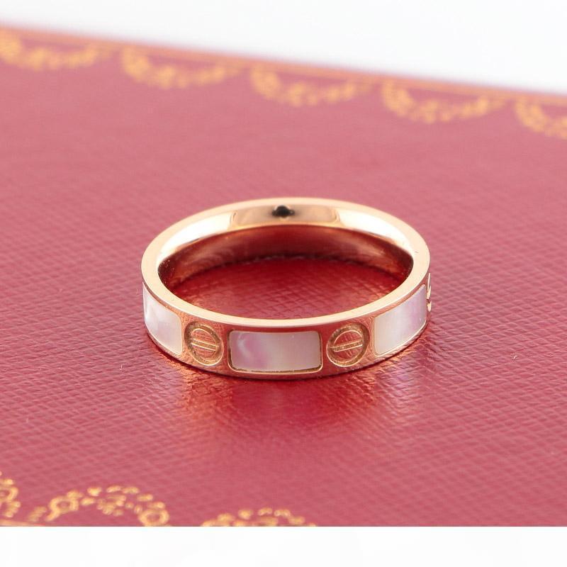 D Classic Shell amore anelli di alta qualità di lavorazione oro rosa 18 carati Anelli Delicate anelli paio Creft Titanio Acciaio Diamante