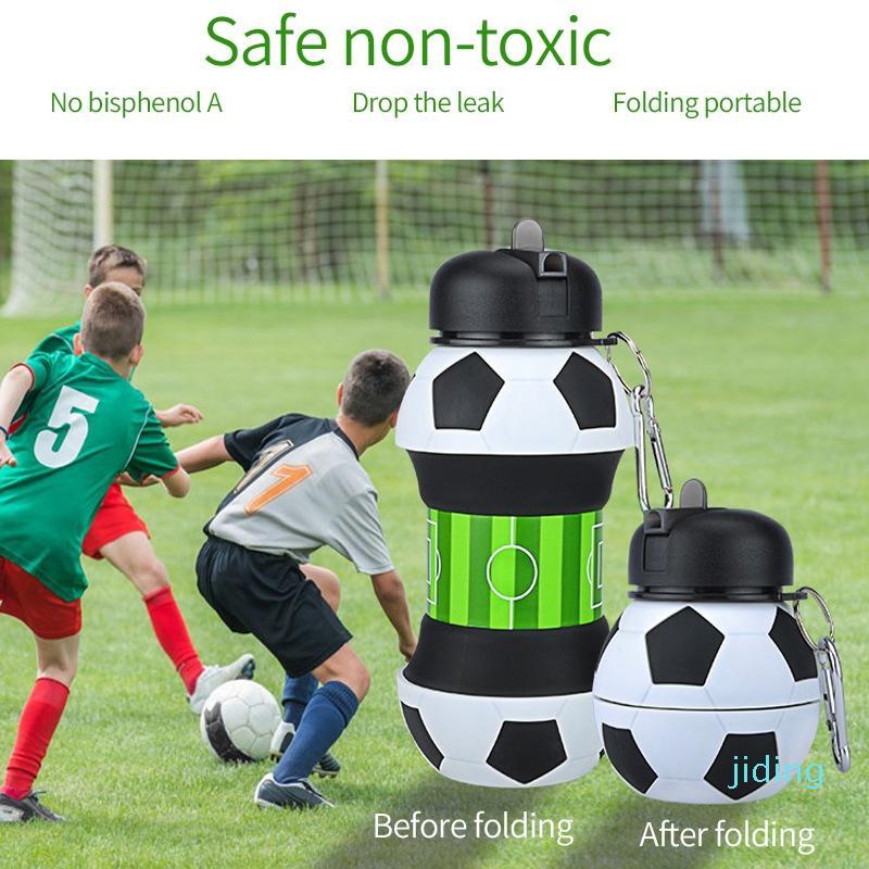 Sport-Football gros Bouteille d'eau pliable Bouteilles voyage avec silicone pour Camping Randonnée Sports